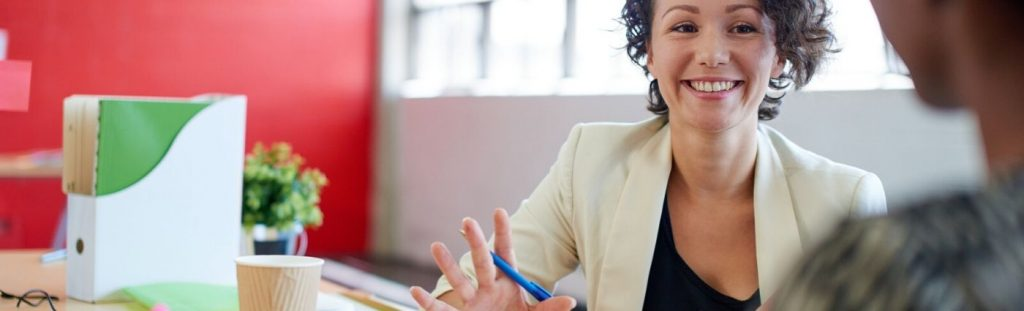 practical learning professional woman talking in office